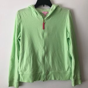Lilly Pulitzer like green zip up hoodie sweater